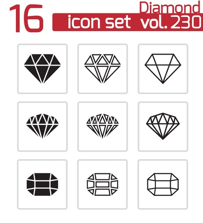 karat: Vector black diamond icons set on white background