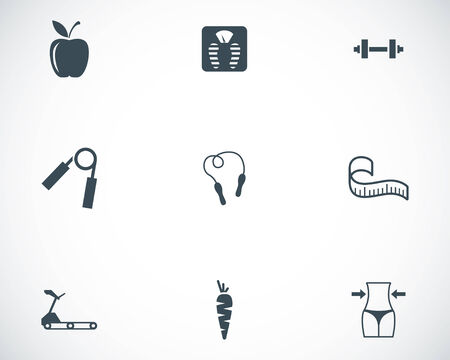Vector black diet icons set on white background Stock Vector - 24744952