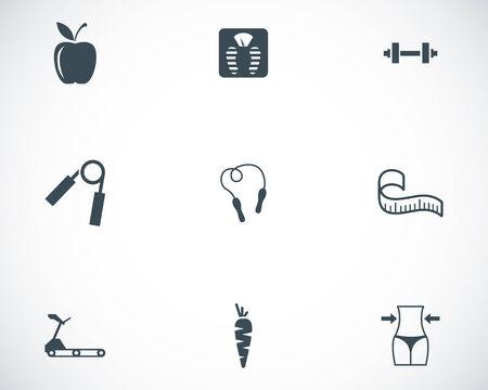 Vector black diet icons set on white background Stock Vector - 24744952