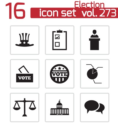 presidential election: Vector black electiion icons set on white background Illustration