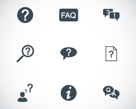 Vector black FAQ icons set on white background Stock Vector - 24744956