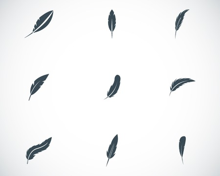 quills: Vector black feather icons set on white background