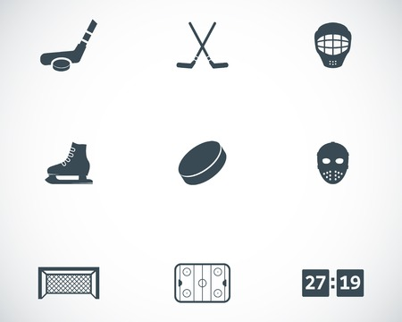 Vector black hockey icons set on white background Vector