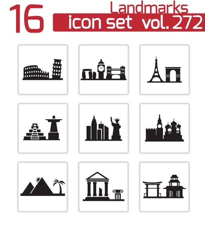 monument: Vector black landmarks icons set on white background