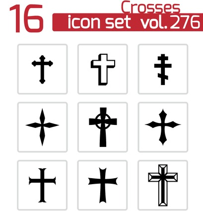 baptist: Vector black christia crosses icons set on white background