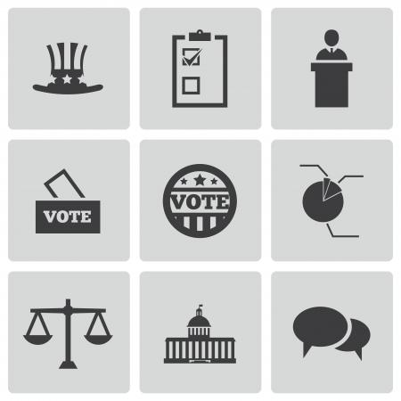 국회 의사당: 흰색 배경에 설정 벡터 검은 electiion 아이콘