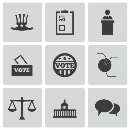 government: Vector black electiion icons set on white background Illustration