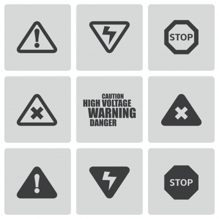 high voltage sign: Vector black danger icons set on white background Illustration