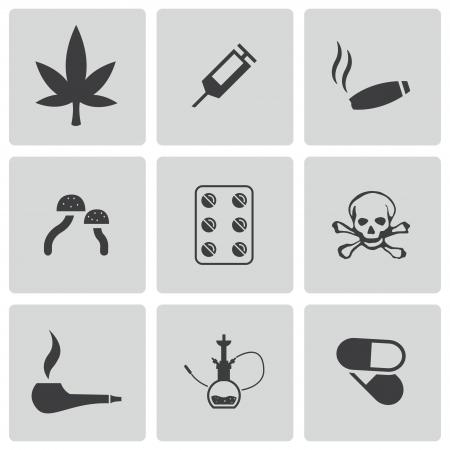 opium: Vector black drugs icons set on white background Illustration