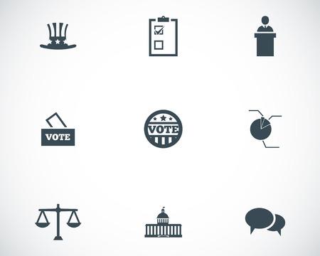 ballot box: black electiion icons set Illustration