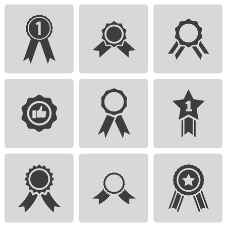 award ribbon rosette: black award medal icons set
