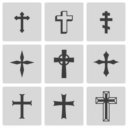 gold cross: black christia crosses icons
