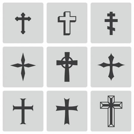 jesus en la cruz: christia negro cruza iconos Vectores