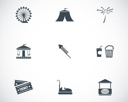 Vector black carnival icons set on white background Vektorové ilustrace