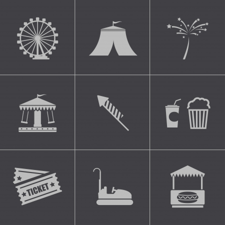 amusement park rides: Vector black carnival icons set on gray background
