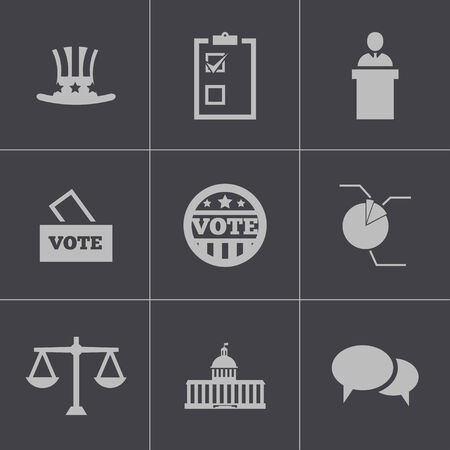 capitol: Vector black electiion icons set on gray background Illustration
