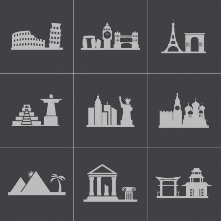 Vector black landmarks icons set on gray background Vector