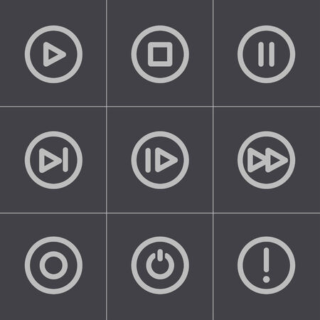 navigation panel: Vector black media buttons icons set on gray background