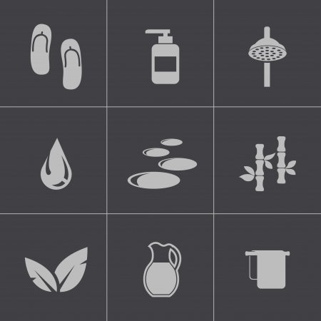 beauty therapist: Vector black spa icons set on gray background Illustration