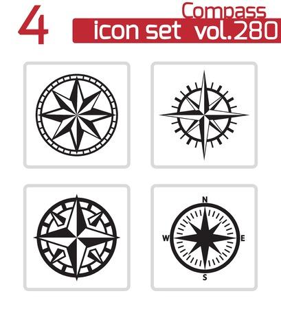 rosa dei venti: Vector bussola nero set di icone su sfondo bianco