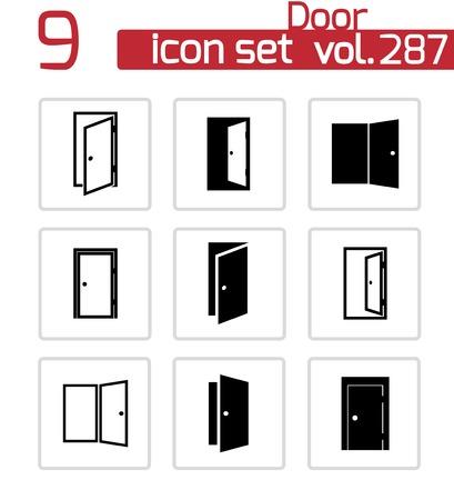 puerta: Vector iconos de puertas negro situado en el fondo blanco
