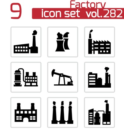 Vector black factory icons set on white background Stock Vector - 25143149