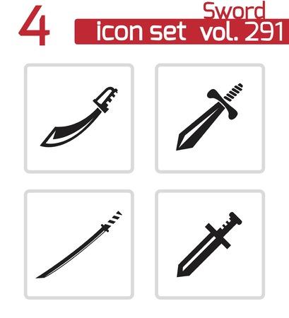 machete: Vector black sword icons set on white background Illustration