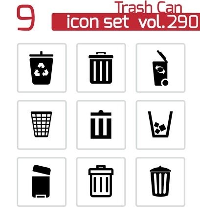 Vector black trash can icons set on white background Stock Vector - 25155944