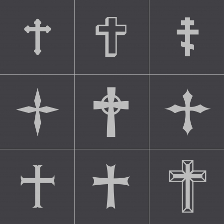 Vector black christia crosses icons set on gray background