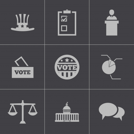 Vector black electiion icons set on gray background Vector
