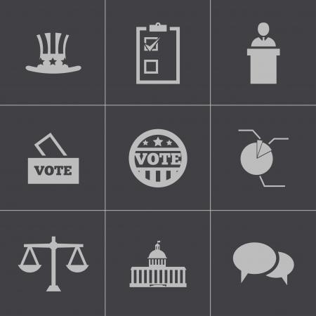 capitol: Vector black electiion icons set on gray background Illustration