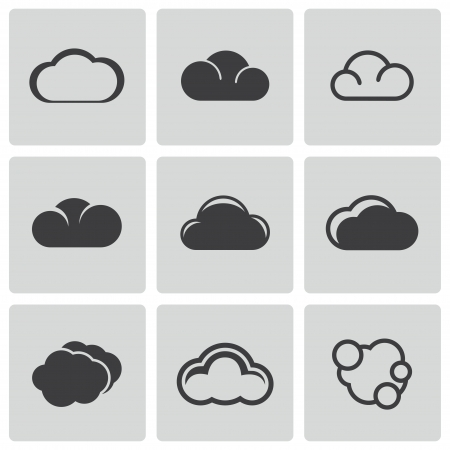 Vecteur noir icônes de nuage fixés sur fond blanc