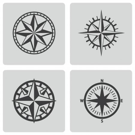 rosa de los vientos: Vector iconos de negro brújula establecidos en el fondo blanco Vectores