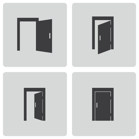 Vector black door icons set on white background Illustration