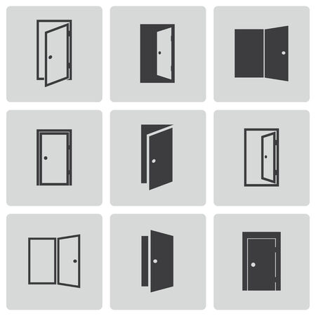 close icon: Vector black door icons set on white background Illustration