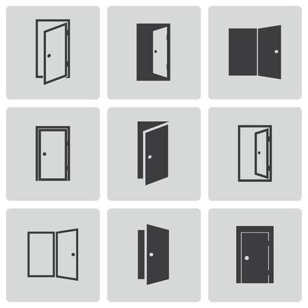 Vector iconos de puertas negro situado en el fondo blanco