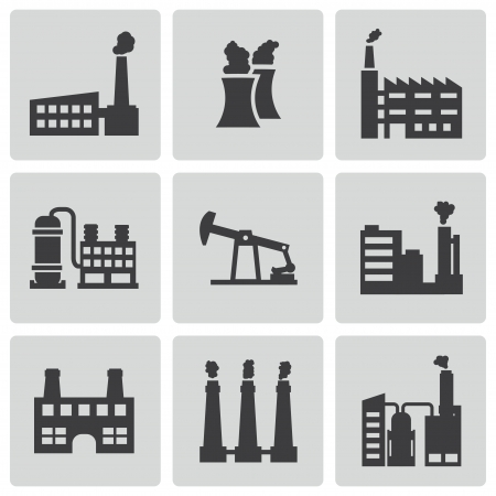 nuclear power: Vector black factory icons set on white background