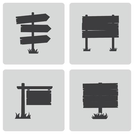 wooden sign: Vector black old wood sign set on white background Illustration