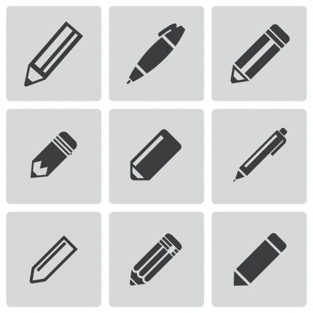 pencil set: Vector black pencil icons set on white background