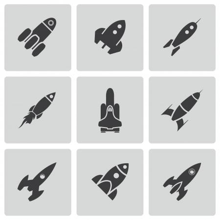 rocketship: Vector black rocket icons set on white background