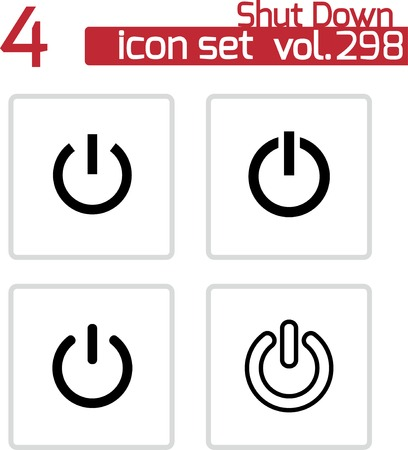 Vector black shut down icons set on white background Vector