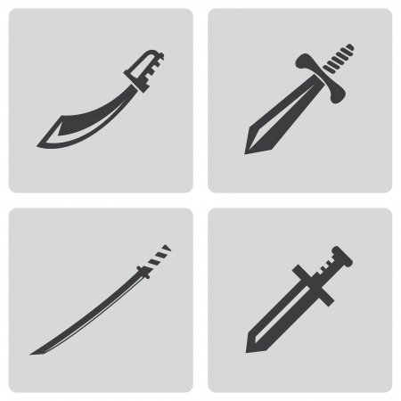 sword silhouette: Vector black sword icons set on white background Illustration
