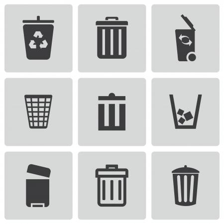 Vecteur noir poubelle icônes mis sur fond blanc Banque d'images - 25156043