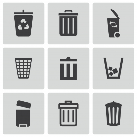basura: Vector negro bote de basura iconos conjunto sobre fondo blanco