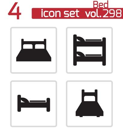 letti: Vector letto nero set di icone su sfondo bianco