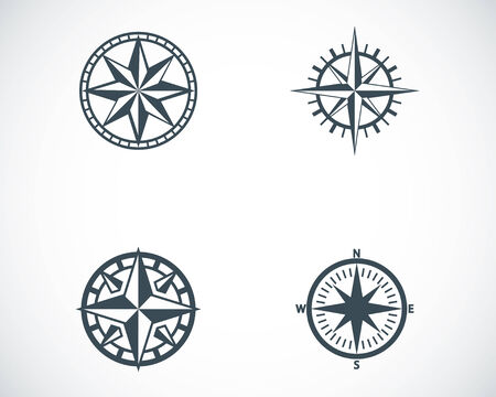 north star: Vector black compass icons set on white background