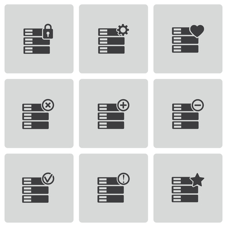 Vector black database icons set on white background Vector