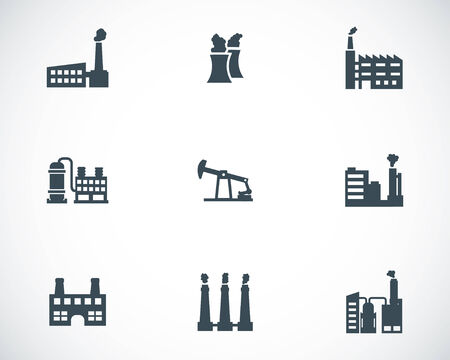 Vector black factory icons set on white background Stock Vector - 25156071
