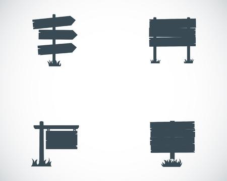 wooden post: Vector black old wood sign set on white background Illustration
