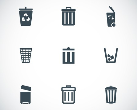 recycle bin: Vector black trash can icons set on white background Illustration